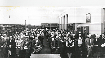 Black and white photo of Thomas More Institute Classroom